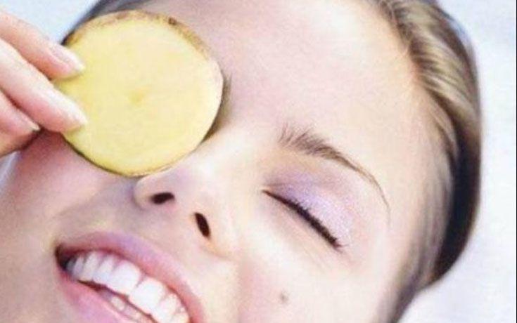 pomme de terre sur les yeux
